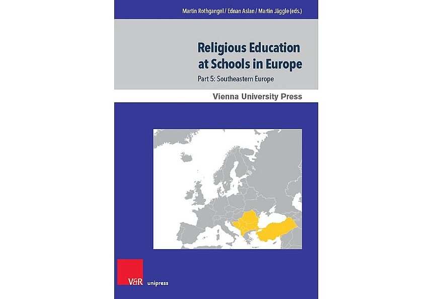 "Bild: Violettes Buchcover mit Karte von Europa ""Religious Education at Schools in Europe"""